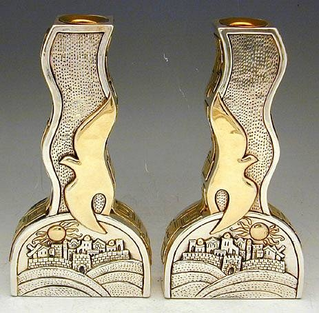 Sterling Silver Peace Dove Candlesticks