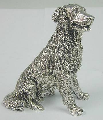 Sterling silver Labrador or Golden Retriever Dog figurine