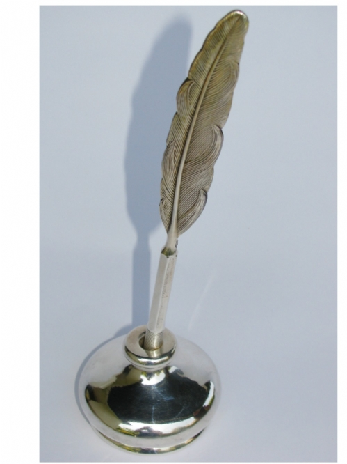 Smooth Silver Penholder & Quill  Styale Pen