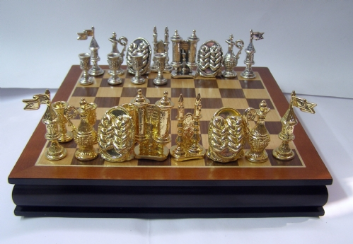 שחמט שבת שלום מכסף טהור וציפוי זהב