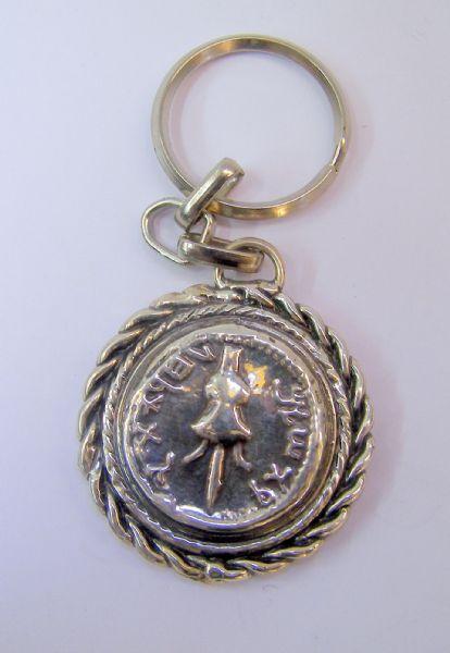 Silver Ancient coin Key Chain