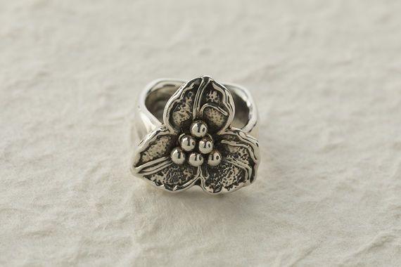 טבעת כסף פרח פיצפון
