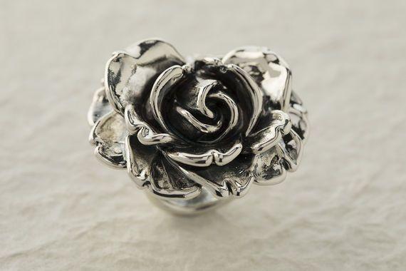 טבעת שושנה מכסף
