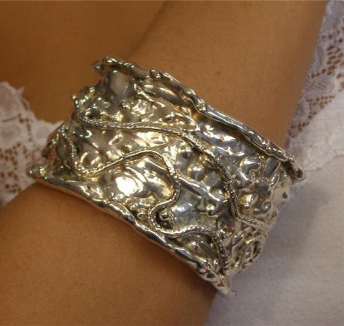 Sterling Silver Wide Mother Bracelet