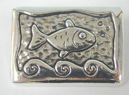 סיכת הדג השמח מכסף טהור