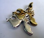 Sterling Silver Two Fish Kiss Brooch