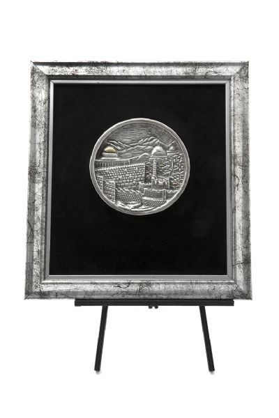 Sterling Silver Round Jerusalem Plaque