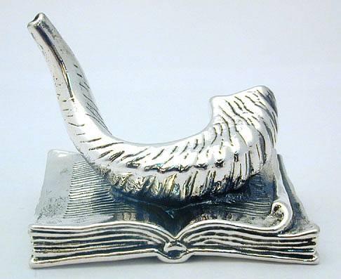 Sterling Silver Shofar+Torah Book
