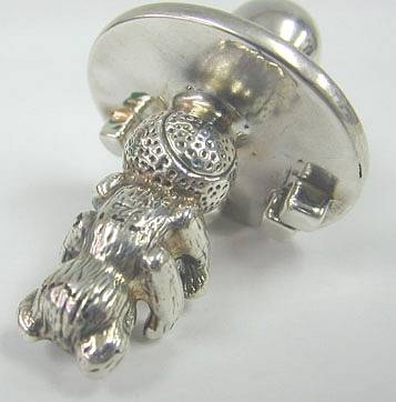 Sterling Silver Teddy Bear Baby Pacifier Charm