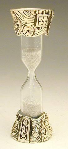 שעון חול מיניאטורה מכסף טהור