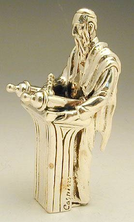 Sterling Silver Rabbi / Scribe Writing Torah Miniature