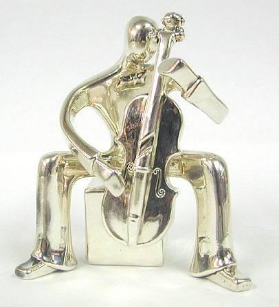 Sterling Silver Cello Player Figurine
