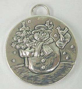Sterling Silver Snowman Christmas Pendant