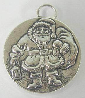 Sterling Silver Santa Claus Christmas Pendant