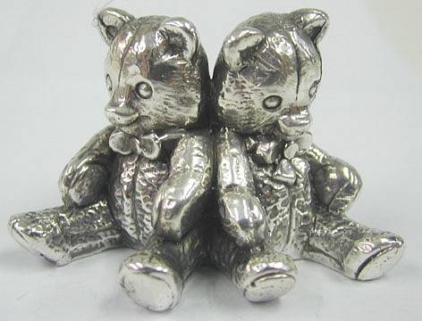 Sterling Silver Twin Teddy Bears Figurine