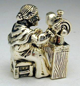 Sterling Silver Sewing Woman Miniature