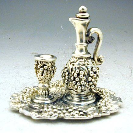 Sterling Silver Wine Cup & Bottle on Tray