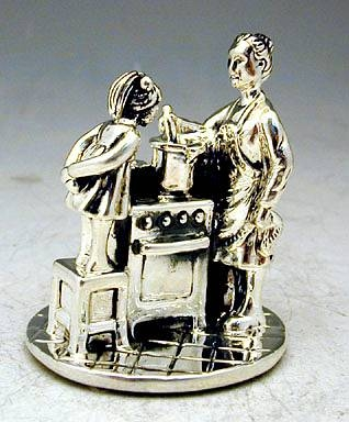 Sterling Silver Mother Teach Cooking Miniature