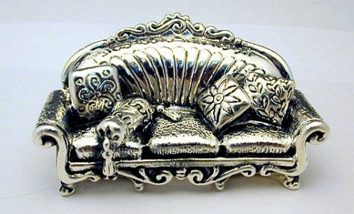 Sterling Silver Passover Sofa Miniature,