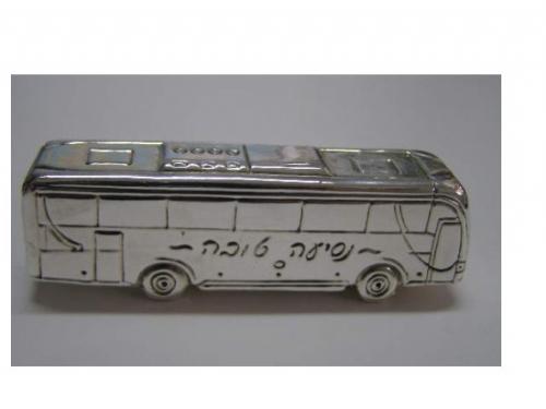 אוטובוס נסיעה טובה מיניאטורה מכסף טהור