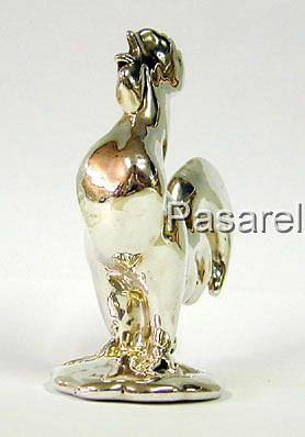 Silver Erect Rooster Miniature