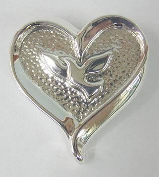 Sterling Silver Dove Heart Brooch