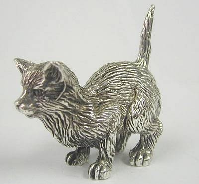 Sterling Silver crouching cat figurine
