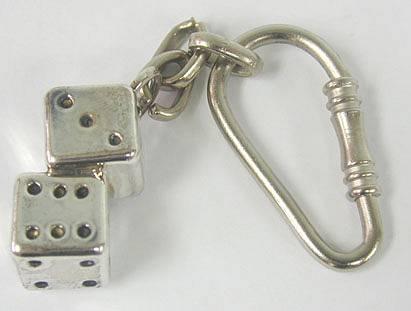 מחזיק מפתחות שתי קוביות מכסף טהור