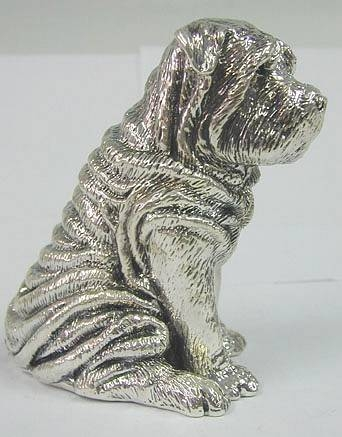 sterling silver Shar-pei Dog figurine