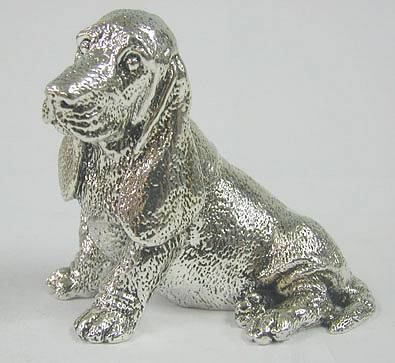 Sterling silver Cocker Spaniel or Basset hound figurine