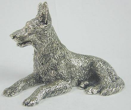 Silver German Shepherd Dog Figurine