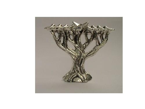 חנוכית עץ חיים מיניאטורה מכסף טהור