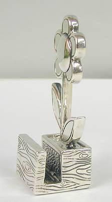 Sterling Silver Flower Card Holder