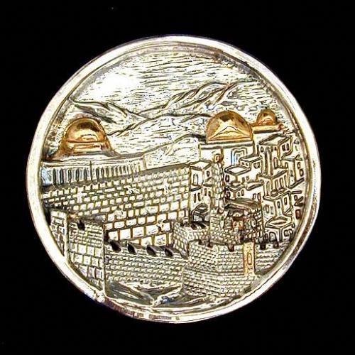 Sterling Silver Round Jerusalem Plaque