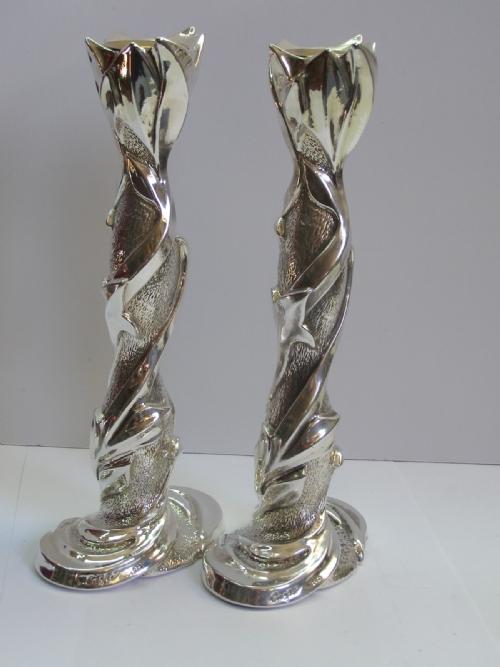 Sterling Silver Leaf Candlesticks
