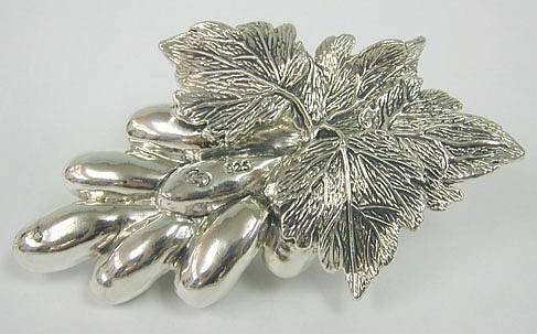 Artisan Sterling Silver Model of Grapes And Vines