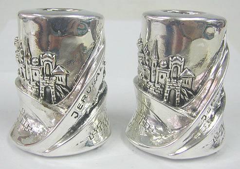 Sterling Silver Scroll Jerusalem Candlesticks