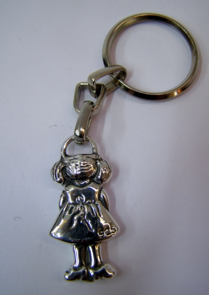 Silver Small Girl Key Chain