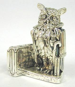 Sterling Silver Smart Owl Business Card