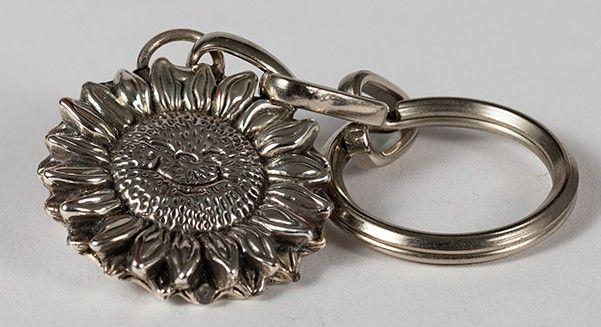 Silver Sunflower Key Chain