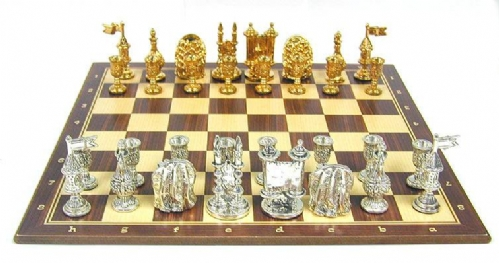 Sterling Silver & Wood Sabbath Chess Set