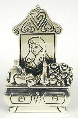 Sterling Silver Beauty Lady Card Holder